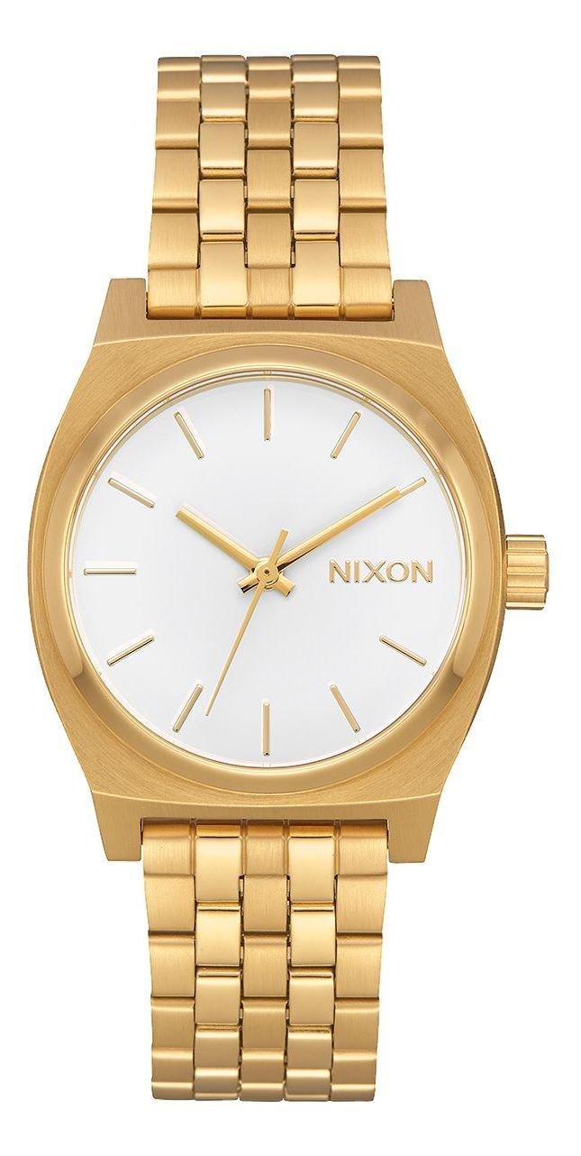 NIXON MEDIUM TIME TELLER ALL GOLD WHITE + dárek zdarma