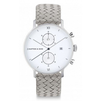 KAPTEN and SON CHRONO SILVER GREY WOVEN LEATHER