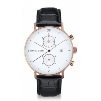 KAPTEN and SON CHRONO BLACK CROCO LEATHER