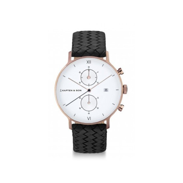 Hodinky KAPTEN and SON CHRONO BLACK WOVEN LEATHER