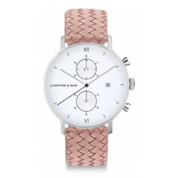 KAPTEN and SON CHRONO SILVER ROSE WOVEN LEATHER