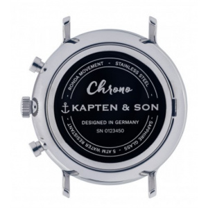 Hodinky KAPTEN and SON CHRONO SILVER ROSE WOVEN LEATHER