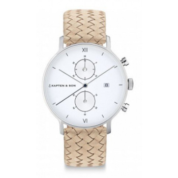 KAPTEN and SON CHRONO SILVER SAND WOVEN LEATHER