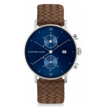 KAPTEN and SON CHRONO SILVER BLUE BROWN WOVEN LEATHER