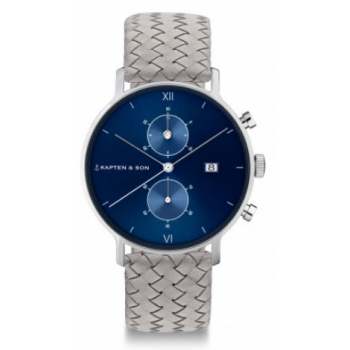 KAPTEN and SON CHRONO SILVER BLUE GREY WOVEN LEATHER