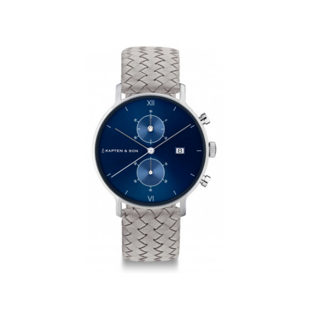 Hodinky KAPTEN and SON CHRONO SILVER BLUE GREY WOVEN LEATHER