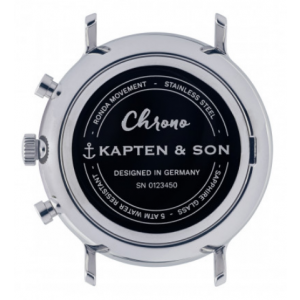 Hodinky KAPTEN and SON CHRONO SILVER BLACK WOVEN LEATHER