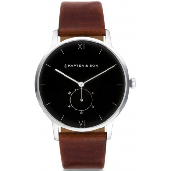 KAPTEN and SON HERITAGE SILVER BLACK BROWN LEATHER