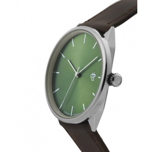 Hodinky CHPO KHORSHID OLIVE METAL SILVER/BROWN VEGAN LEATHER STRAP