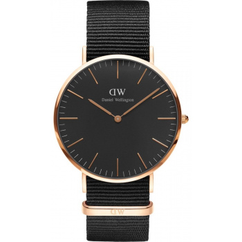 DANIEL WELLINGTON CLASSIC BLACK CORNWALL ROSE GOLD - VELKÉ DW00100148