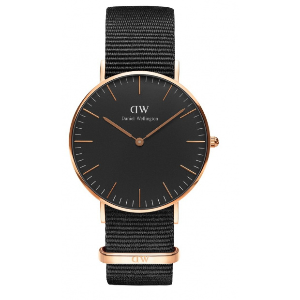 Hodinky DANIEL WELLINGTON CLASSIC BLACK CORNWALL ROSE GOLD DW00100150