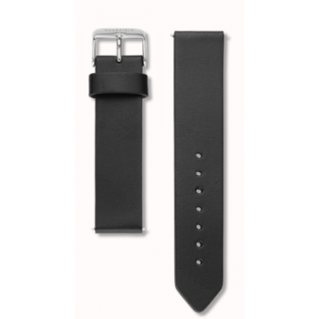 ROSEFIELD BLACK STRAP CLEAN CUT / 18MM / SILVER