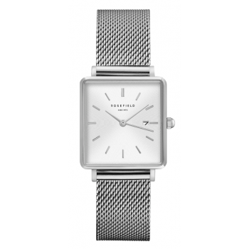 ROSEFIELD THE BOXY WHITE SUNRAY MESH SILVER / 33MM