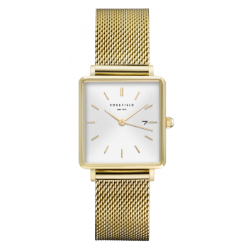 ROSEFIELD THE BOXY WHITE SUNRAY- MESH - GOLD / 33MM