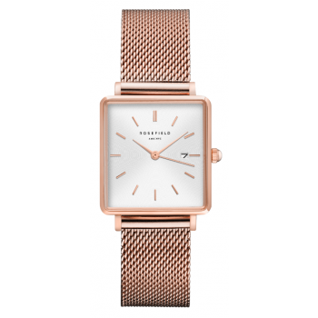 ROSEFIELD THE BOXY WHITE SUNRAY MESH ROSEGOLD / 33MM