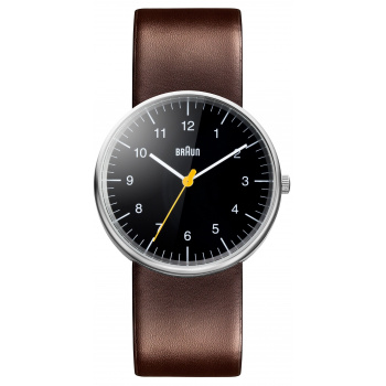 BRAUN GENTS BN0021 CLASSIC WATCH - BLACK DIAL WITH LEATHER STRAP