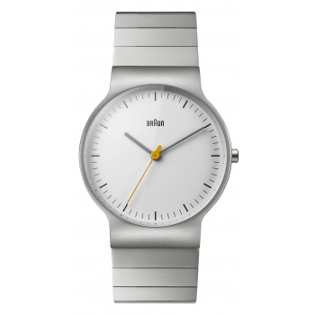 BRAUN GENTS BN0211 CLASSIC SLIM WATCH WITH STAINLESS STEEL BRACELET/WHITE/SILVER