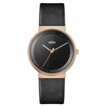 BRAUN LADIES BN0031 CLASSIC WATCH - BLACK DIAL WITH BLACK LEATHER STRAP