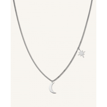 ROSEFIELD MOON AND STAR NECLACE SILVER