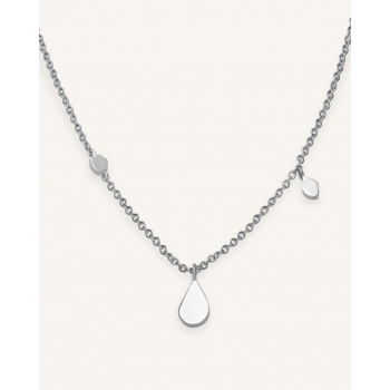 ROSEFIELD SHAPED DROP NECKLACE SILVER
