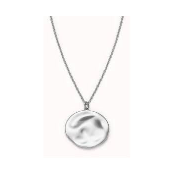 ROSEFIELD TEXTURED COIN NECKLACE SILVER JTXCS-J080