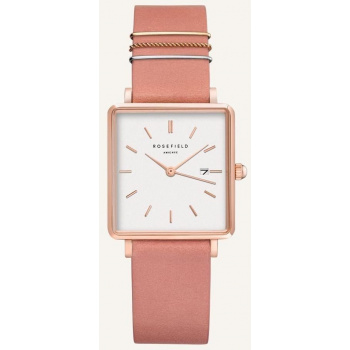 ROSEFIELD THE BOXY WHITE OLD PINK ROSE GOLD / 33 MM