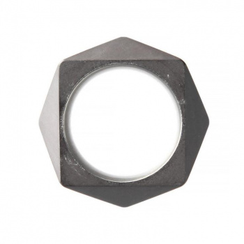 22 DESIGN STUDIO Polygon Ring Dark Grey