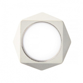 22 DESIGN STUDIO Polygon Ring White