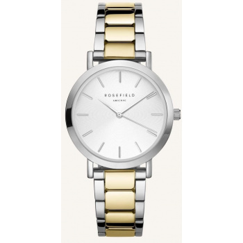 ROSEFIELD THE TRIBECA WHITE SUNRAY STEEL SILVER GOLD DUO 33MM