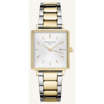 ROSEFIELD THE BOXY WHITE SUNRAY STEEL SILVE GOLD DUO 33MM
