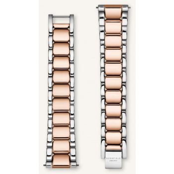 ROSEFIELD TRIBECA SILVER-ROSE GOLD STRAP 33MM