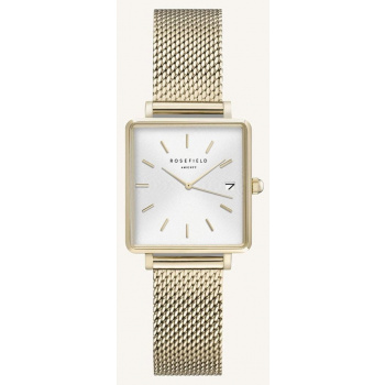 ROSEFIELD THE BOXY XS WHITE SUNRAY MESH GOLD 22MM