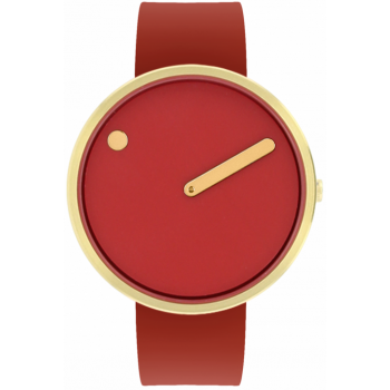 PICTO 40 MM CINNAMON RED/CIRCULAR BRUSHED GOLD 43397-7628G
