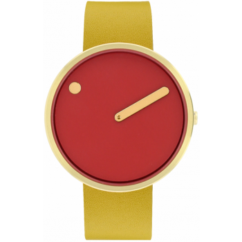 PICTO 40 MM CINNAMON RED/CIRCULAR BRUSHED GOLD 43397-6120G